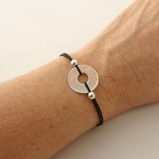 Bracelet cordon cible 20mm + 2 perles argent