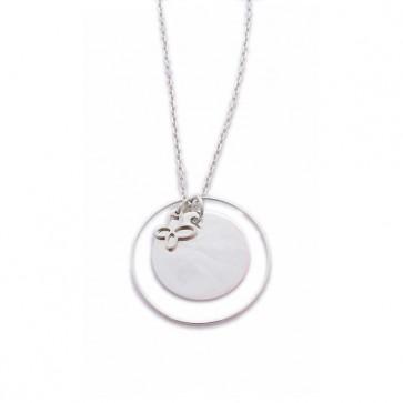 Sautoir argent grand pendentif, anneau et breloque