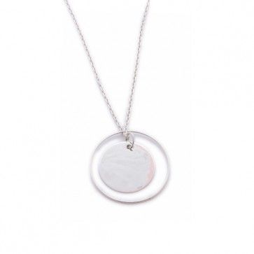 Sautoir argent grand pendentif et anneau
