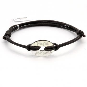 Bracelet cordon personnalisé homme - Cible ovale en argent