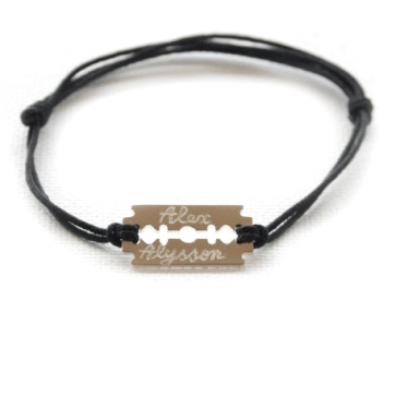 Bracelet cordon personnalisé - Lame de rasoir en argent
