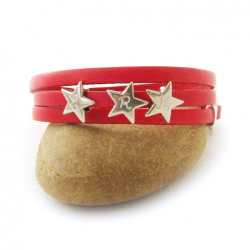 Bracelet cuir personnalisé 1 ou 3 tours avec 1 à 4 étoile(s)