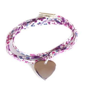 Bracelet Liberty personnalisé - Médaille coeur bombé en argent