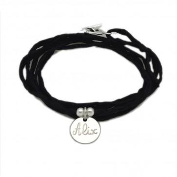Bracelet personnalisé femme en soie - 1 médaille 15mm en argent