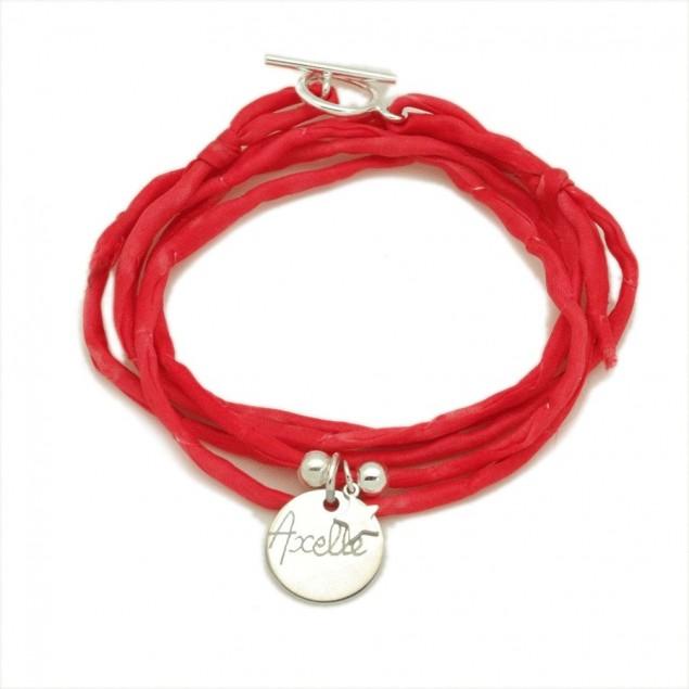 Bracelet personnalisé femme en soie - 1 médaille 15mm et mini étoile en argent
