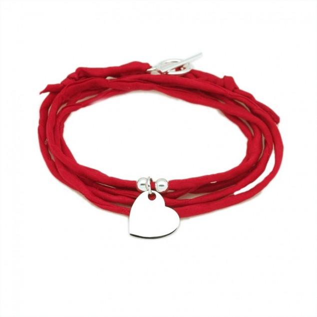 Bracelet personnalisé femme en soie - 1 coeur 15mm en argent