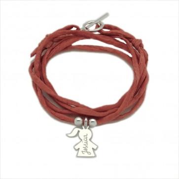 Bracelet personnalisé femme en soie - 1 personnage en argent