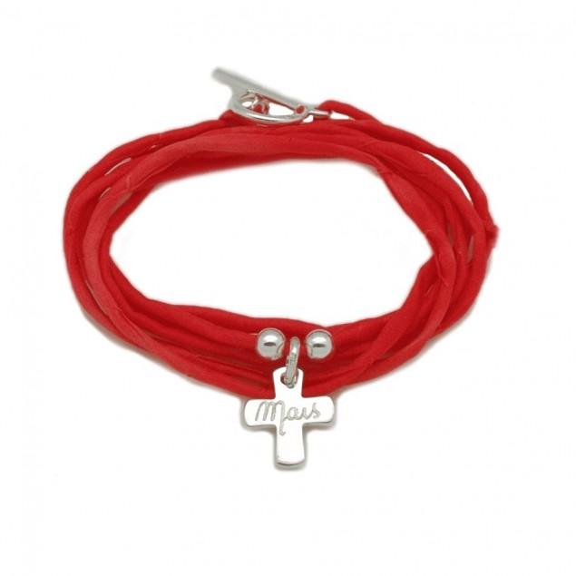 Bracelet personnalisé femme en soie - 1 croix en argent