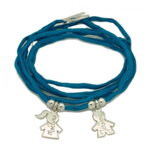 Bracelet personnalisé femme en soie - 2 personnages en argent