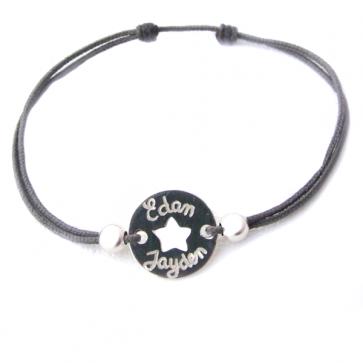 Bracelet cordon personnalisé - jeton ajouré étoile et perles