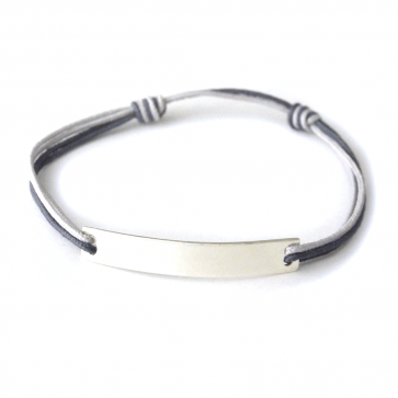 Bracelet cordon personnalisé homme - Barrette en argent
