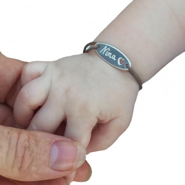 Gourmette ovale ajourée coeur en argent pour bébé et enfant
