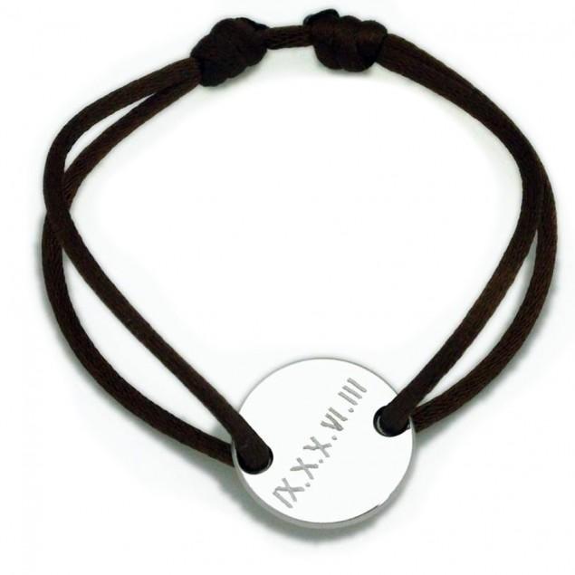 Bracelet cordon personnalisé - Médaille jeton en argent