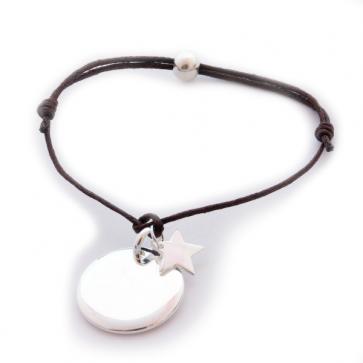 Bracelet personnalisé femme - Médaille ronde gravée & mini-breloque au choix en argent