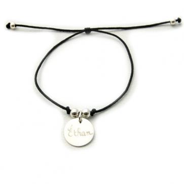 Bracelet cordon personnalisé - Petite médaille ronde et perles en argent