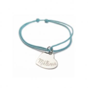 Bracelet cordon personnalisé - Coeur plat 15mm en argent