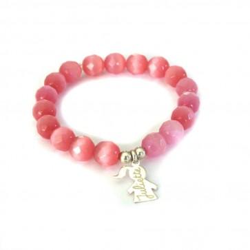 Bracelet personnalisé femme en perles - 1 ou 2 breloques fille ou garçon en argent
