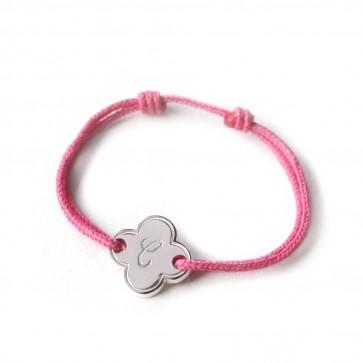 Bracelet cordon personnalisé enfant - Petite fleur en argent