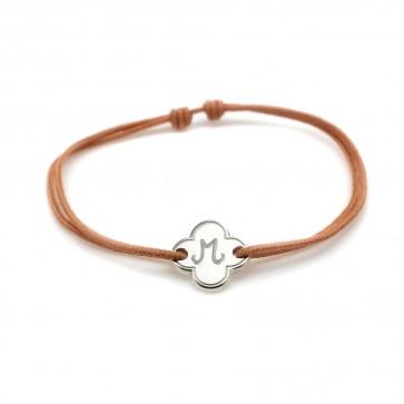 Bracelet cordon personnalisé - Petite fleur en argent
