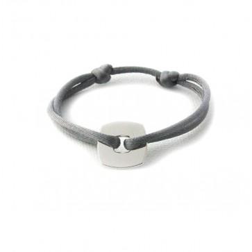 Bracelet personnalisé - Mini-jeton carré 15mm en argent