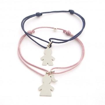 Bracelet cordon personnalisé - 1 breloque fille ou garçon en argent à graver