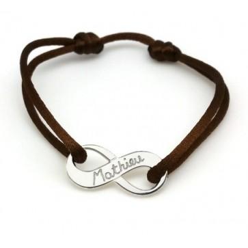 Bracelet cordon personnalisé homme - Symbole infini