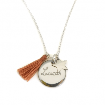 Collier en argent personnalisé - Médaille ronde bombée, étoile & pompon au choix