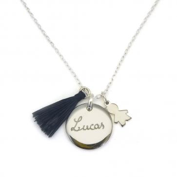 Collier personnalisé en argent  - Médaille ronde bombée, mini fille ou garçon & pompon au choix