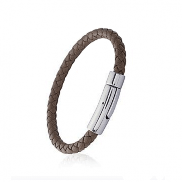 Bracelet Homme cuir torsadé et fermoir acier - Gravable