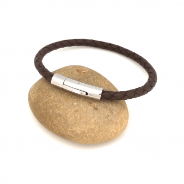 Bracelet Homme cuir torsadé marron et fermoir acier - Gravable