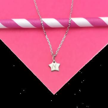 Collier personnalisé mini-étoile sur chaîne en argent - Gravure 1 lettre