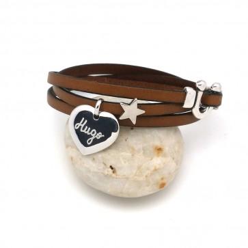 Bracelet en cuir 1 ou 3 tours personnalisé - 1 ou 2 coeurs & étoile en option