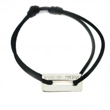 Bracelet cordon personnalisé homme - Rectangle évidé en argent