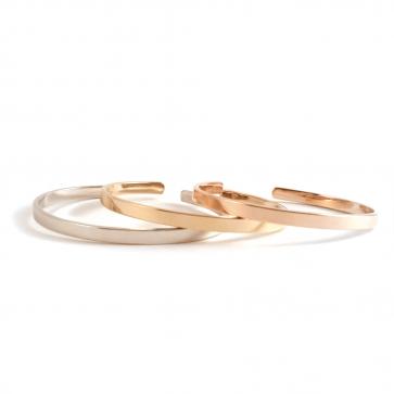 Bracelet jonc gravure recto/verso SOLO - Argent ou plaqué or
