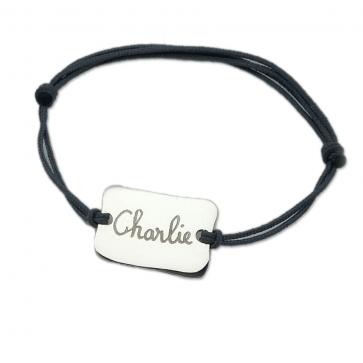 Bracelet cordon personnalisé Homme - Plaque irrégulière en argent