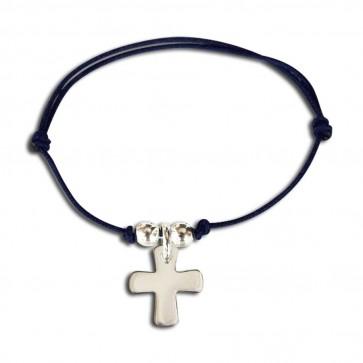 Bracelet cordon croix et 2 perles
