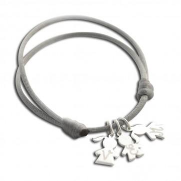 Bracelet cordon personnalisé - 1, 2, 3, 4 ou 5 mini charm's chérubin en argent