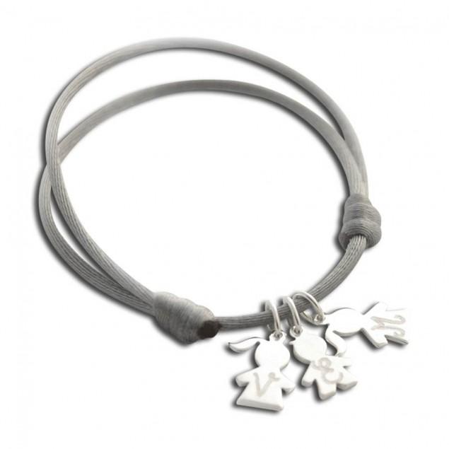 Bracelet cordon personnalisé - 1, 2, 3, 4 mini charm's chérubin en argent