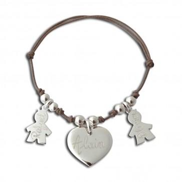 Bracelet cordon coeur et 2 personnages filles ou garçon en argent