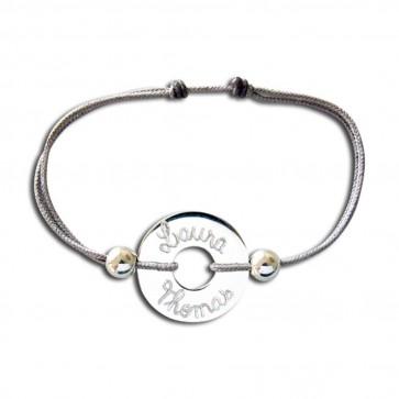 Bracelet cordon personnalisé - Cible + 2 perles argent