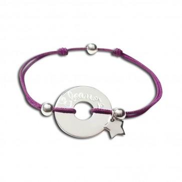 Bracelet cordon personnalisé - cible + perles + mini-breloque au choix