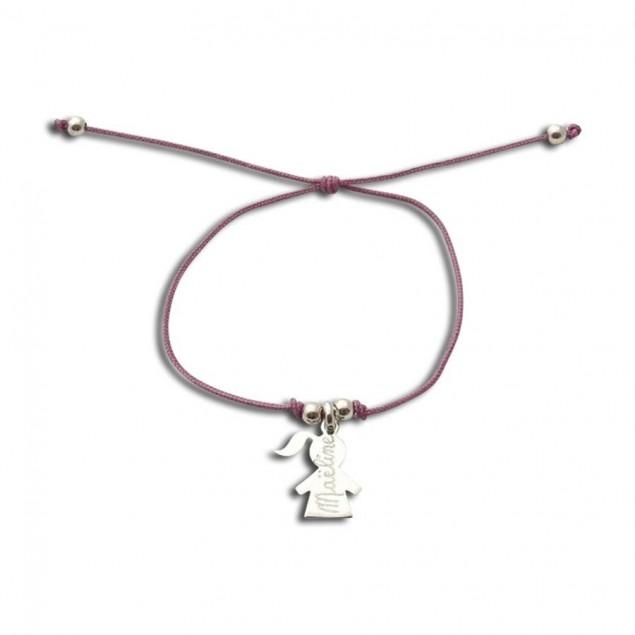 Bracelet cordon personnalisé - 1 à 5 charms fille ou garçon & perles en argent