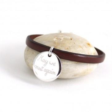Bracelet en cuir 1 tour personnalisé - 1 ronde