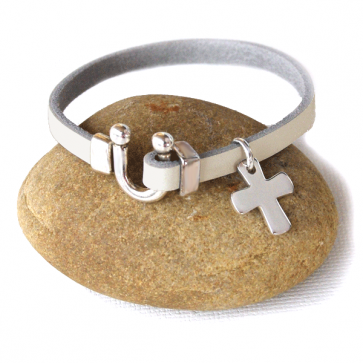 Bracelet cuir 1 ou 3 tours personnalisé - Croix en argent