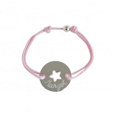 Bracelet cordon personnalisé - Petit jeton ajouré étoile en argent