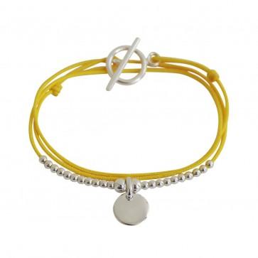 Bracelet triple cordon personnalisé - mini-médaille ronde gravée