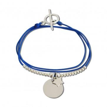 Bracelet triple cordon personnalisé - petite médaille ronde gravée et étoile
