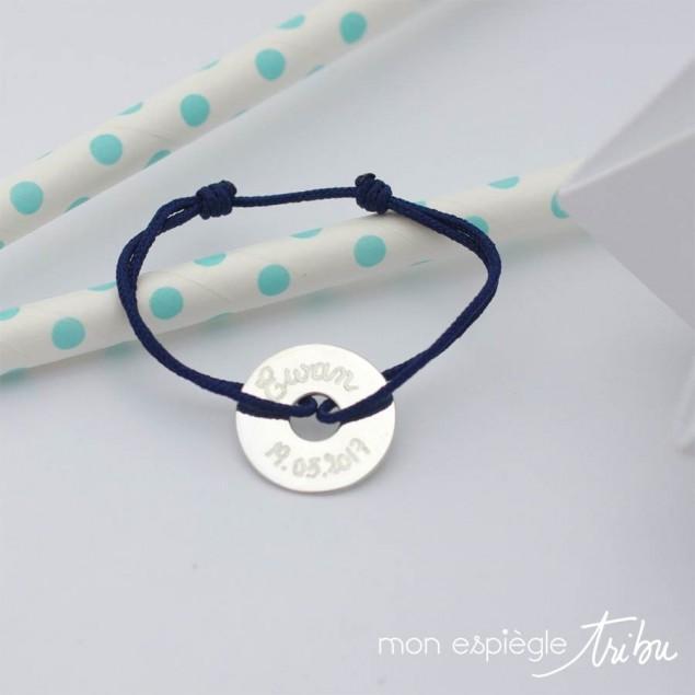 Bracelet cordon personnalisé - Mini-cible 15mm en argent