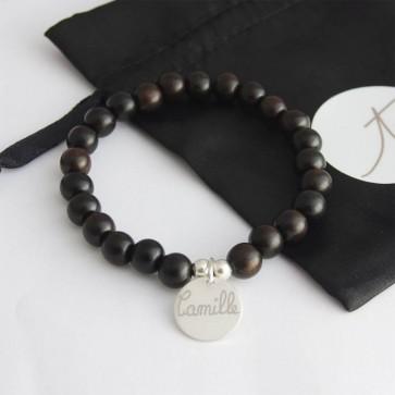 Bracelet perles homme médaille gravée - Argent