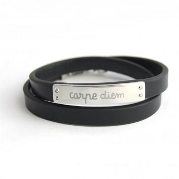Bracelet Homme cuir et plaque acier - gravable